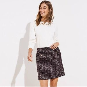 LOFT boucle pocket shift skirt tweed size 14